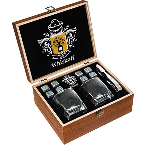 Whiskey Glass Set of 2 - Whiskey Stones Gift Set - Scotch Bourbon Glasses