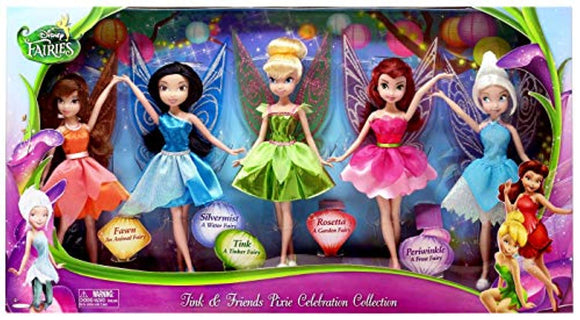 Disney Fairies 5 Pack Tink & Friends Pixie Celebration Collection 9 Inch Dolls