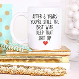YouNique Designs 6 Year Anniversary Coffee Mug for Her, 11 Ounces, 6th Wedding Anniversary Cup
