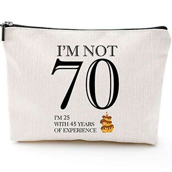 Fun 70th Birthday Gifts for Women- I'm not 70-Makeup Travel Case,Makeup Bag Gifts