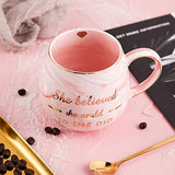 She Believed she could So She Did - Pink Marble Ceramic Coffee Mug 15oz - Gifts for Women - Congratulations Gifts for Her