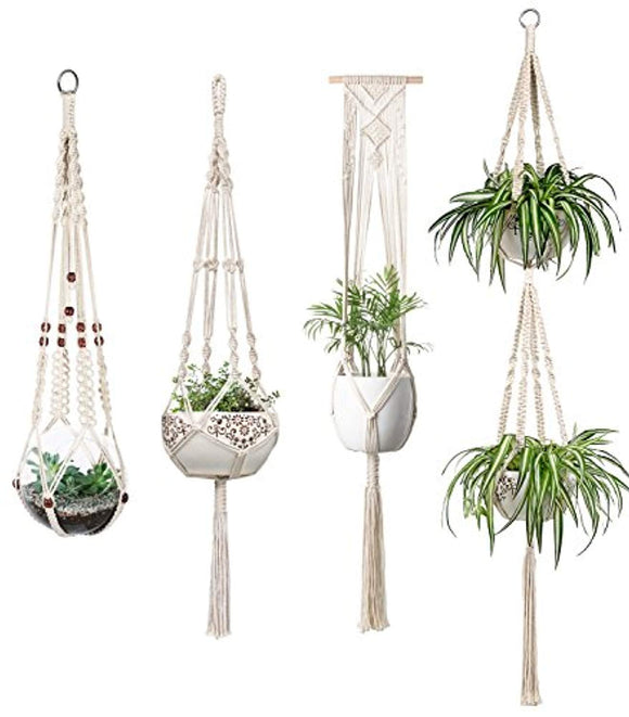 Mkono Macrame Plant Hangers Set of 4 Indoor Wall Hanging Planter