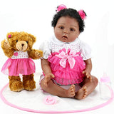 Aori Reborn Baby Dolls Lifelike Weighted Black Girl Doll 22 Inch with Teddy Toy Accessories