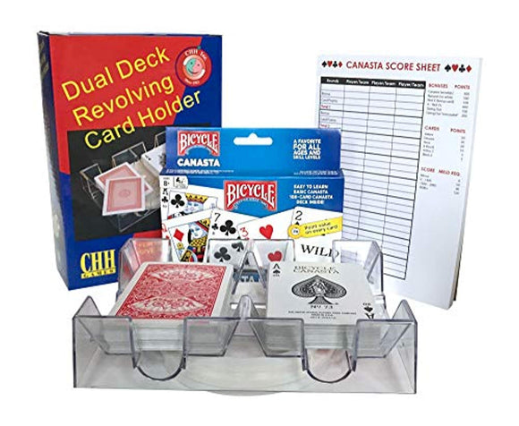 Canasta Cards With Point Values, 2 Deck Rotating Card Tray