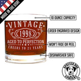 Vintage 1998 Etched 11oz Whiskey Rocks Glass - 21st Birthday Aged to Perfection