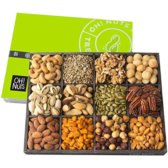 12 Variety Mixed Nut Gift Basket, Holiday Freshly Roasted Healthy Gourmet Snack Gifts| Premium Wood Tray