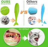[2019 New UPgrand] Pet Cat Fish Shape Toothbrush with Catnip Toys