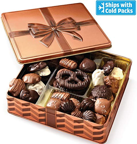 Bonnie & Pop's Holiday Chocolate Gift Box, Gourmet Gift Basket, Assortment Tray
