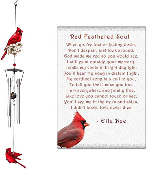 Lola Bella Gifts and Spoontiques Cardinal Wind Chimes and Red Feathered Soul Poem Card Red Box Sympathy Grief Memorial Gift
