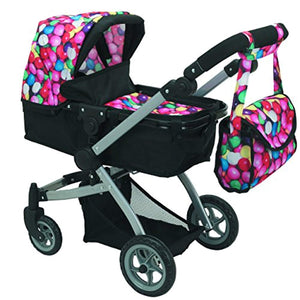 Babyboo Deluxe Doll Pram Color Gumball & Black