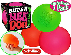"Schylling Super NeeDoh The 4.5"" Groovy Glob! Squishy, Squeezy, Stretchy Stress Balls Green, Orange & Pink Complete Gift Set"