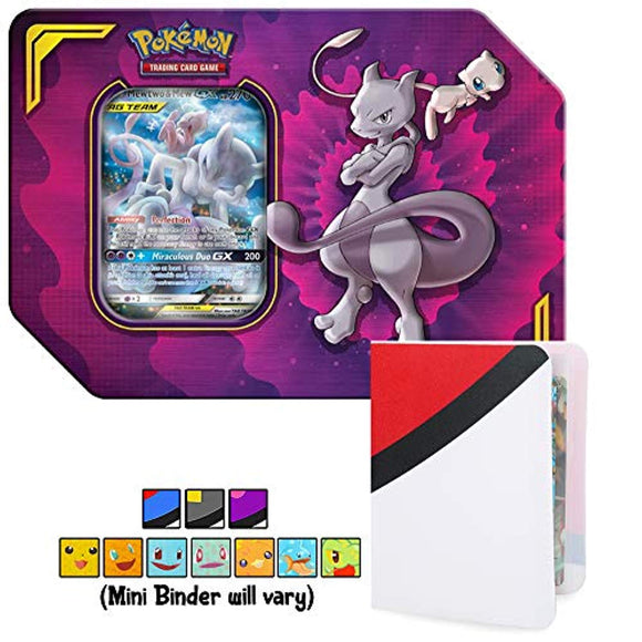 Power Partnership Tin Mewtwo & Mew GX Tag Team with Totem World Card Protector Mini Binder Collectors Album