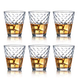 Whiskey Glass Set of 6-10 oz Lead Free Crystal Old Fashioned Glass, Cocktail Cool Rocks Glass Tumbler