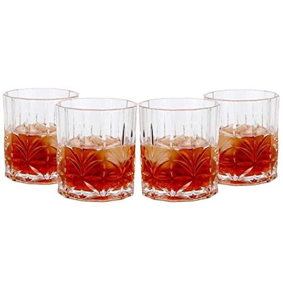 Lily's Home Unbreakable Acrylic Double Old Fashioned Whiskey Tumblers, Premium Glasses are Shatterproof  (13 Oz. Each, Set of 4)