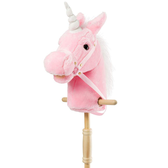 HollyHOME Outdoor Stick Horse with Wood Wheels Real Pony
