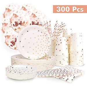 300PCS Rose Gold Paper Party Supplies - Disposable Paper Plates Dinnerware Set