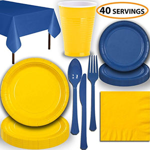 Disposable Party Supplies, Serves 40 - Yellow and Blue - Large and Small Paper Plates