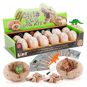 LUKAT Dinosaur Eggs Dino Dig Kits 12 Unique Dinosaurs Excavation Toy Kids Gifts for Boys and Girls
