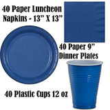 Disposable Party Supplies, Serves 40 - Blue and Gold