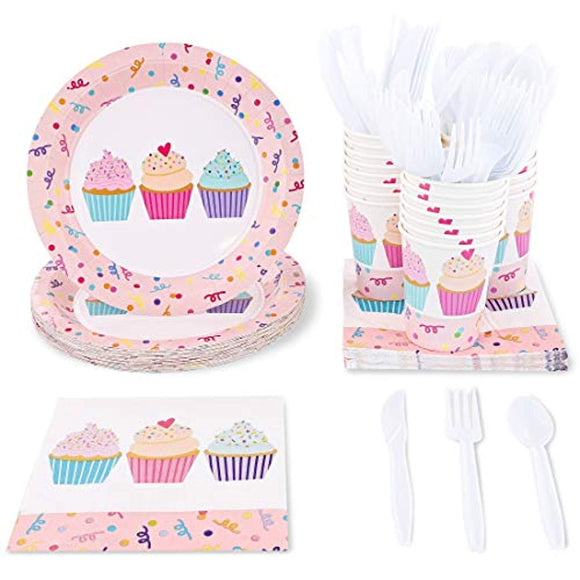 Blue Panda Pink Cupcakes Birthday Party Supplies