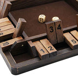 Juegoal Wooden 4 Players Shut The Box Dice Game