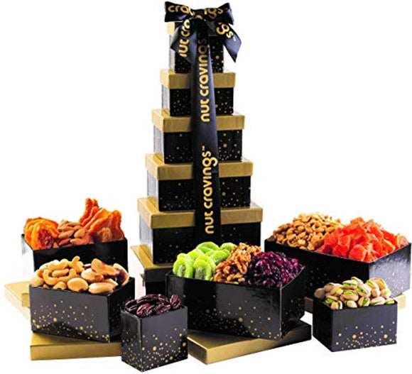 Holiday Nut and Fruit Gift Tower – Gourmet Mix of 12 Assorted Nuts & Dried Fruit Snacks in Individual Boxes