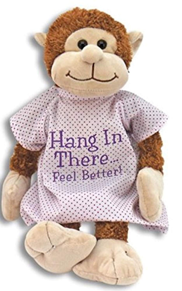 Hang in There Feel Better Get Well Plush Monkey in Hospital Gown
