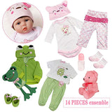 Yesteria Lifelike Reborn Baby Dolls Girl 22 Inches with 2 Outfits Silicone Vinyl Cotton Body Pink and Green