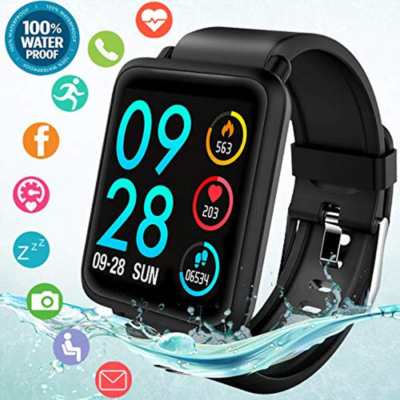 Fitness Tracker Smart Watch, Waterproof Fitness Watches with Blood Pressure Heart Rate