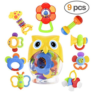 GotechoD Baby Rattles Teether Rattle Set,Shaker Grab Rattle Baby Infant Newborn Toys