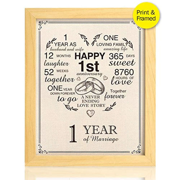 Ihopes Framed 1st Anniversary Heart Burlap Print Decorations