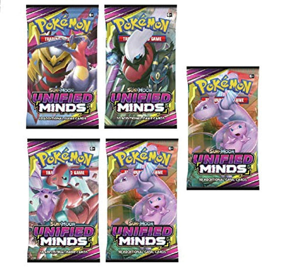Pokemon - Unified Minds | 5 Booster Packs | Total of 50 Cards | Set Featuring Mew and Mewtwo tag Team GX