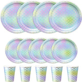 150 PCS Mermaid Party Supplies Paper Dinnerware Set