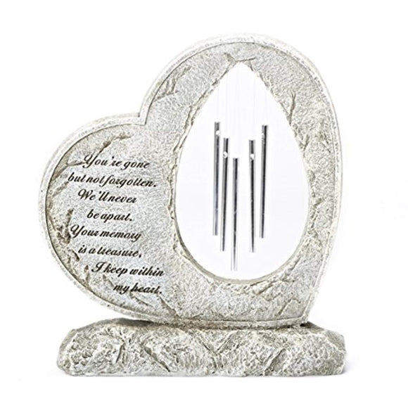 Roman Your Memory Treasure Within Heart 12 Inch Resin Stone Garden Chime Figurine