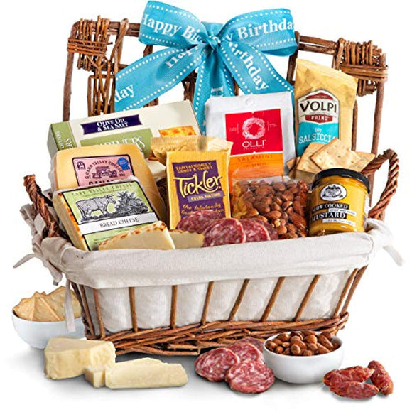 Golden State Fruit Happy Birthday Gourmet Cheese & Meats Hamper Gift Basket
