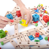 DailyLoop Nuts and Bolts Wooden Building Construction Toy Set