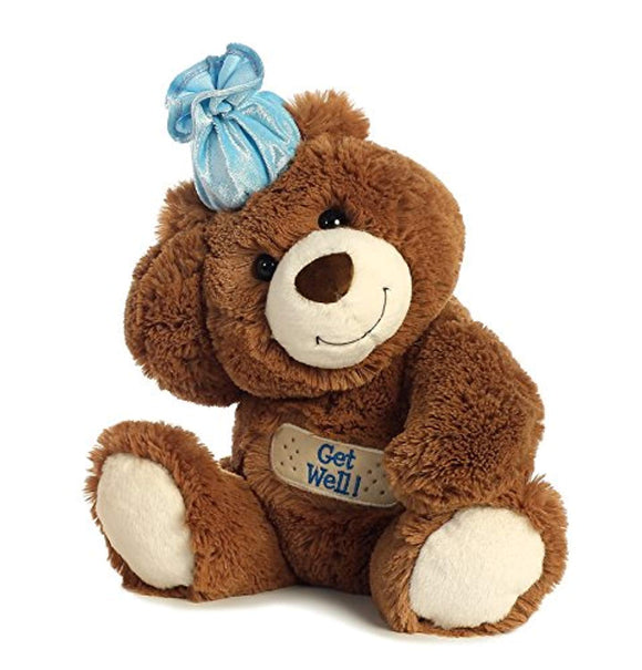 Aurora 1705 Get Well Bear World Plush Toy, Chocolate