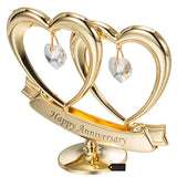 24K Gold Plated Crystal Studded Double Heart Happy Anniversary Banner