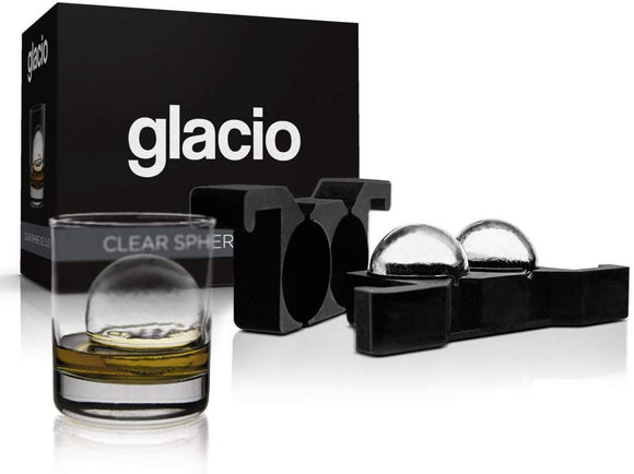 glacio Clear Sphere Ice Duo - Crystal Clear Ice Ball Maker - Clear Round Ice for Whiskey
