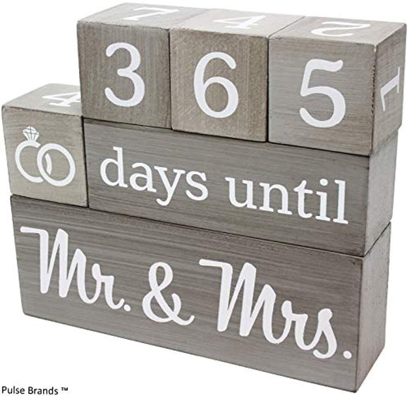 Wedding Countdown Calendar Wooden Blocks - Engagement Gifts - Bride to Be - Bridal Shower Gift