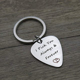 I Pick You Always and Forever I Pick you Stainless Steel Guitar Pick Keychain Musical Gift