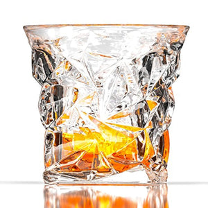 High End Crackled Whiskey Glasses by Fine Occasion 8oz (Set of 2)