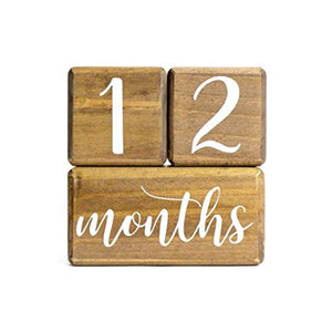 LovelySprouts Premium Solid Wood Milestone Age Blocks | Choose from 2 Stain Options (Walnut)