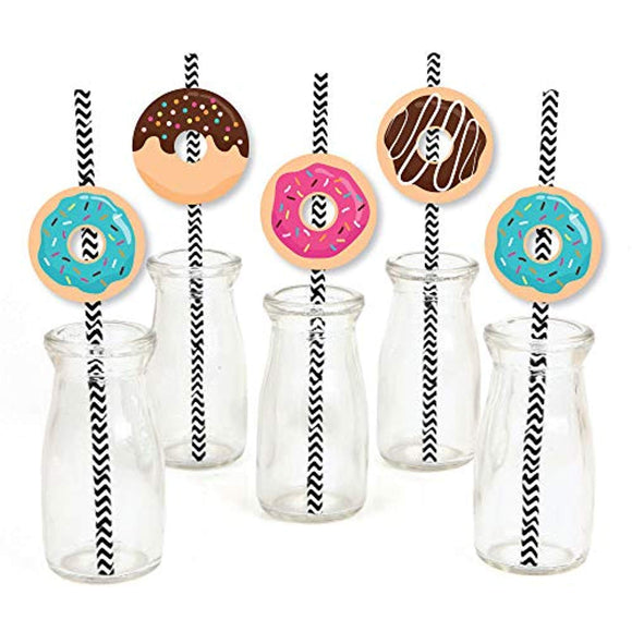 Donut Worry, Let's Party - Paper Straw Decor - Doughnut Party Striped Decorative Straws