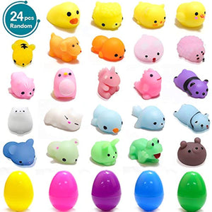 GEEKERA Squishies Mochi Toy, 24 pcs Mini Kawaii Animals Mochi Glitter