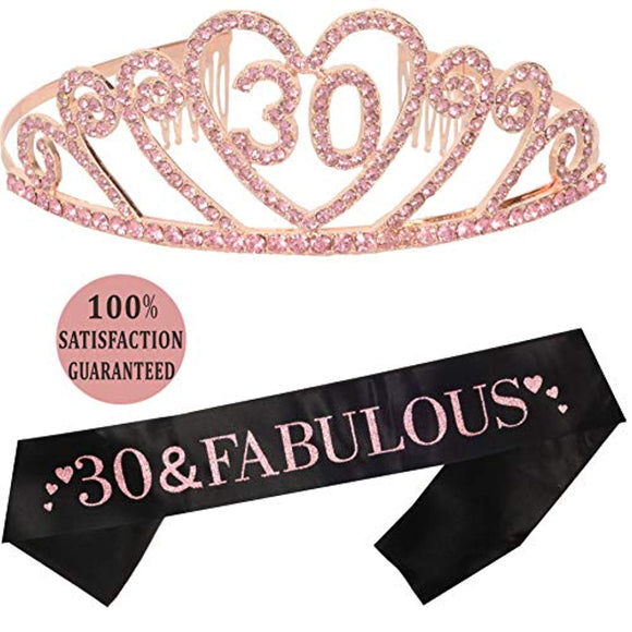 Pink 30th Birthday Tiara and Sash, Happy 30th Birthday Party Supplies