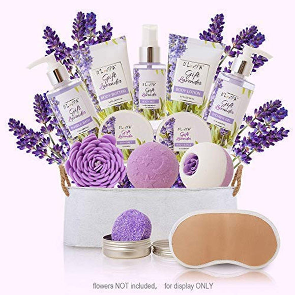 Spa Gift Baskets for Women Lavender Bath and Body At Home Spa Kit