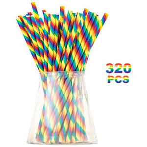 Biodegradable Rainbow Paper Straws for Party Supplies