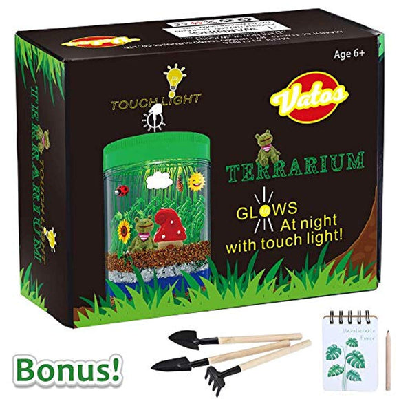 VATOS Terrarium Kit for Kids Light-up Kits with LED Grow Light, Growing Kits in a Jar for Kids Boys & Girls Gifts for Ages 3 -12