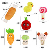 14 Pack Dog Squeaky Toys Cute Stuffed Plush Fruits Snacks and Vegetables Dog Toys